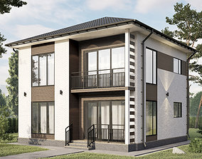 3D Two-story project aerated concrete houses with a