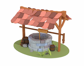 low-poly Wishing Well - Stone Well - Vintage Well 2