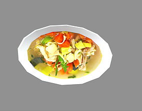 low poly meal 3D asset