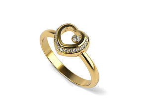 Heart Simple Engagement Ring 3D printable model