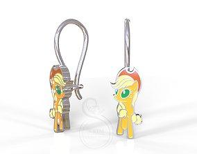 3D printable model Applejack pony kid earrings