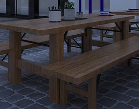 wooden table with benches 3D model