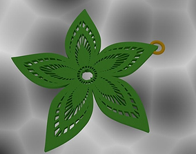 3D printable model flower Pendant