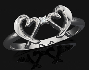 Double Loving Heart Ring 507 3D printable model