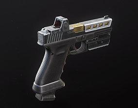 3D asset Glock 17 Custom Pistol with Attachments