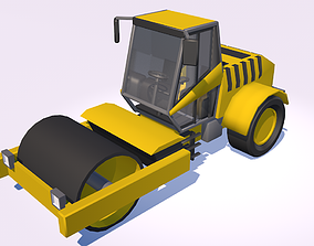 Low poly 3D model Road Roller - game-ready