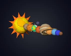 Solar System 3D asset low-poly