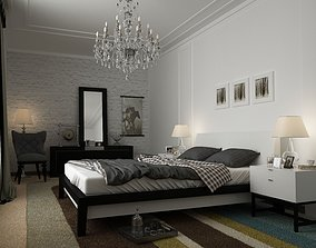 3D model white bedroom