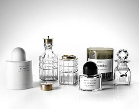 Crystal Bottles with Byredo Candles and Perfumes 3D