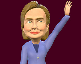 3D asset Hillary Clinton caricature rigged low