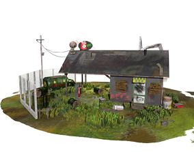 Abandoned Petrol Station 3D asset