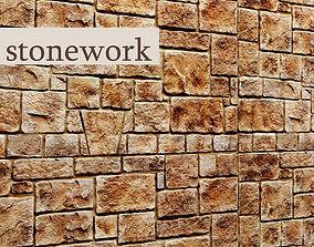 3D model brick Stone Wall