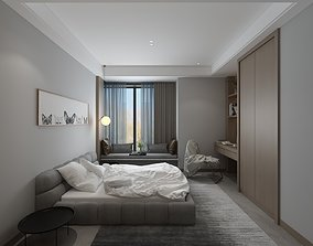 3D Bedroom with Sill Bedplace and PC Table