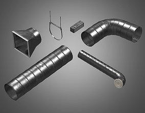 Metal Tube Ventilation Set - PBR Game Ready 3D model