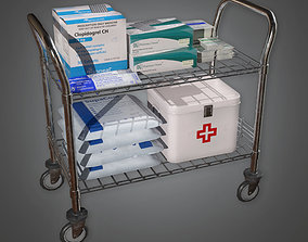 HPL - Medical Supply Cart 02 PBR Game Ready 3D asset