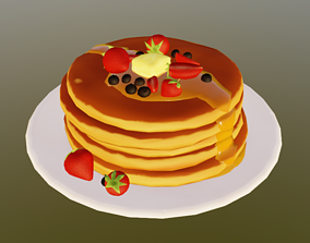 Pancakes 3D model realtime delicious