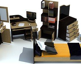 TEEN ROOM FURNITURE 3D asset
