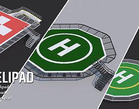 3 Helipad - Rooftop Elements 3D model