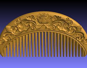 3D print model comb lotus engraving