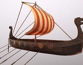 Viking ship 3D asset low-poly