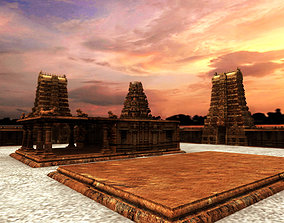 hindu temple 3d model decoration