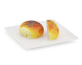 3D Sliced Bun with Poppy Seeds