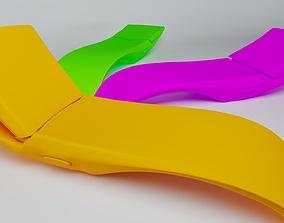 sunbed with adjustable back 3D model