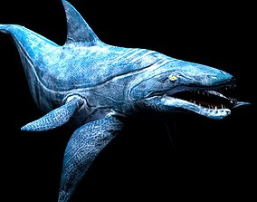 3D model sea monster lowpoly rigged game ready