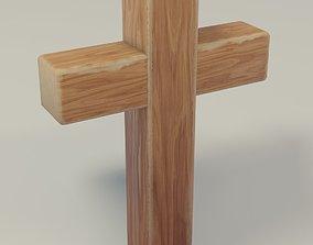 jesus low-poly Wooden Cross 3D Model