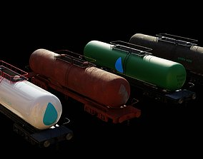 4 wagons complete textures and 3D asset