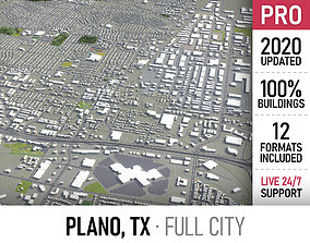 Plano - Dallas - city and surroundings 3D asset