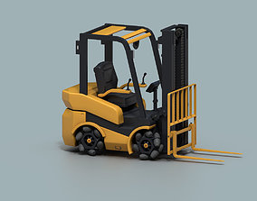 3D asset Rigged Forklift with Mecanum Wheels