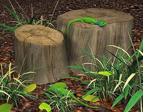 3D green lizards