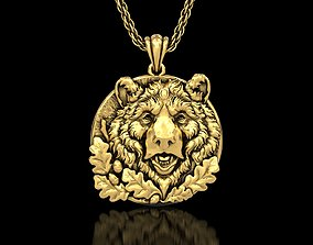 The Bear Head Medallion Pendant 3D print model