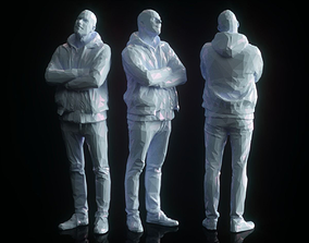 3D asset Male Looking Up Casual Low Poly Style