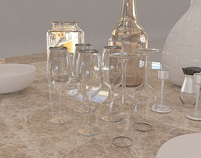 Table and Items 3D model