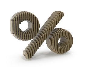 3D model Wood symbol Percent