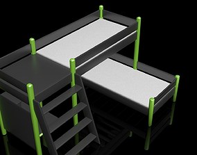 3D Bunk bed with the simple table