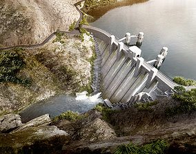3D model Dams construction river