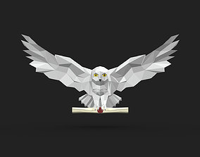 snowy owl low poly 3D print model