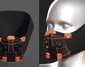 3D asset game-ready Gas mask respirator scifi futuristic