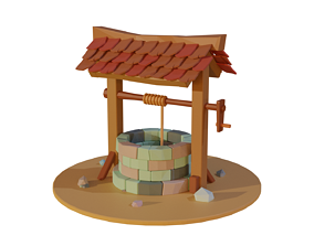 furniture Low Poly Well 3D asset game-ready