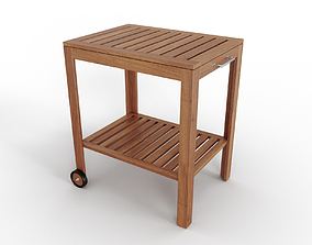 3D model APPLARO KLASEN Serving cart outdoor brown stained