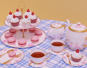 3D baked Set tea Party
