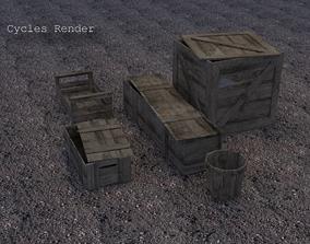 Wooden Crates 3D asset low-poly