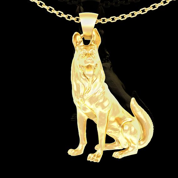 Dobermann Dog Pendant jewelry Gold 3D print model