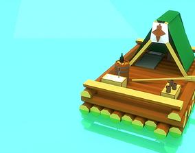 3D asset Low-Poly Water Raft Model