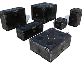 3D asset realtime Sci Fi old black cargo crates
