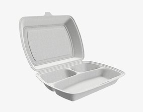 Take away lunch polystyrene box 02 3D model