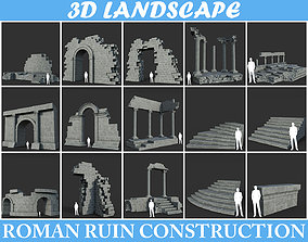 3D model Low poly Ancient Roman Ruin Construction Pack 2